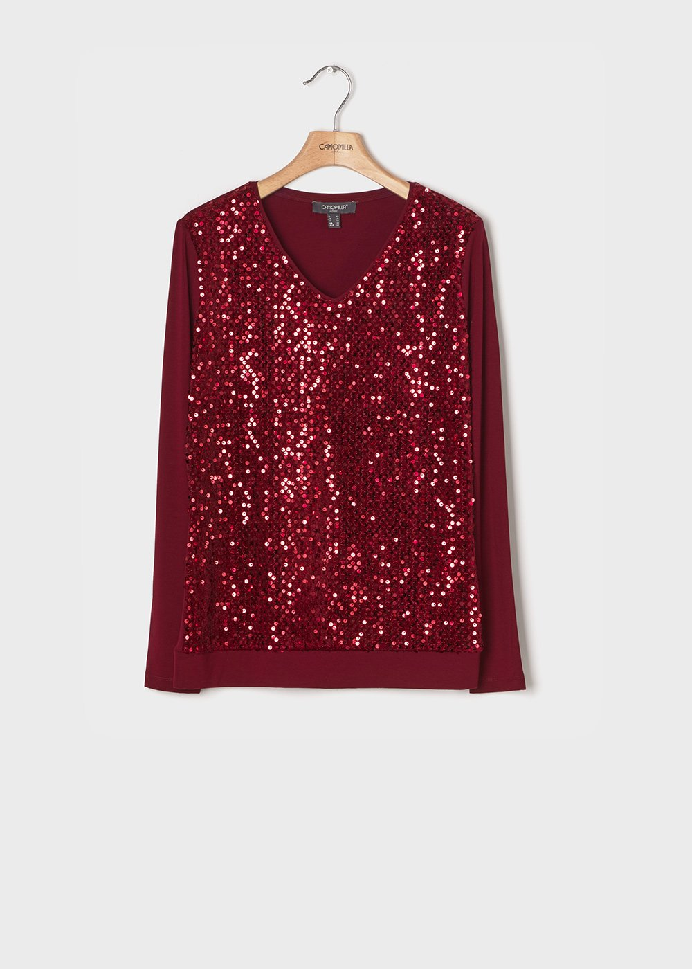 Sweater with applique of tone-on-tone sequins