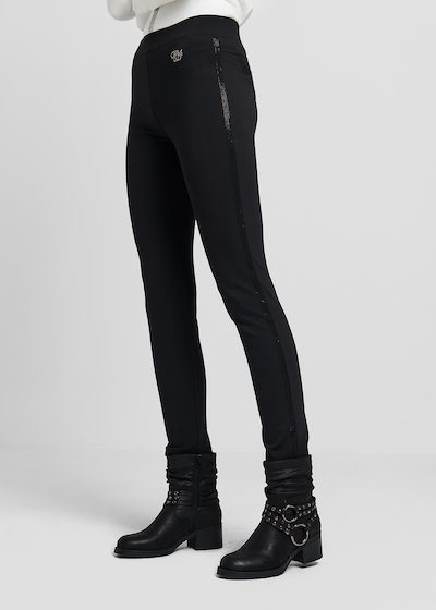 Leggings in milano stitch with coordinated side rhinestones