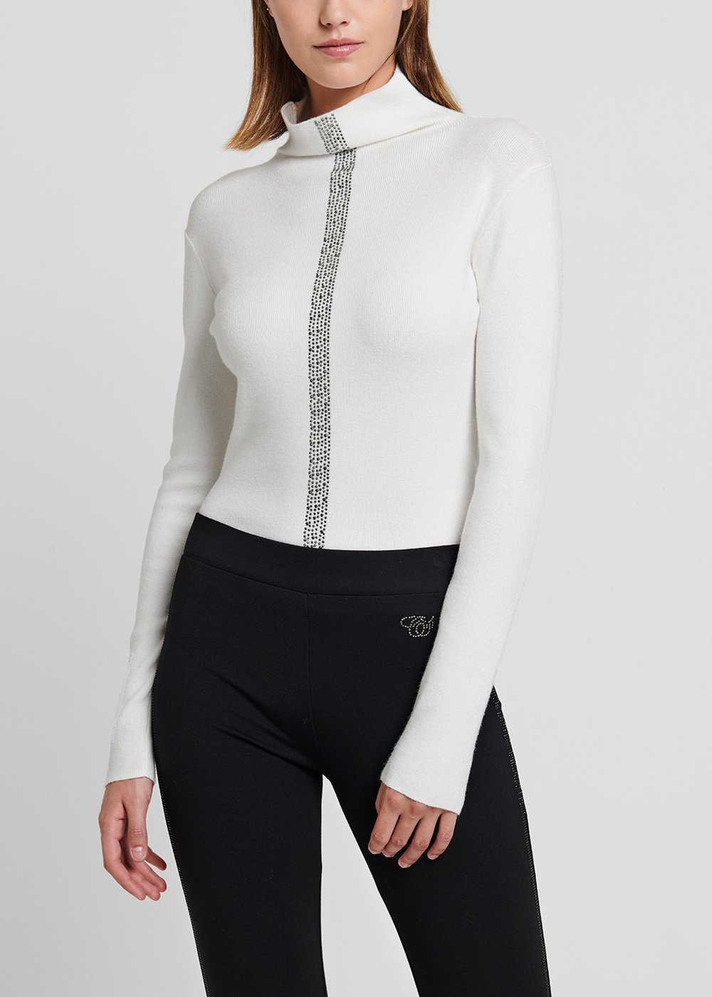 High-neck viscose sweater - White - Woman