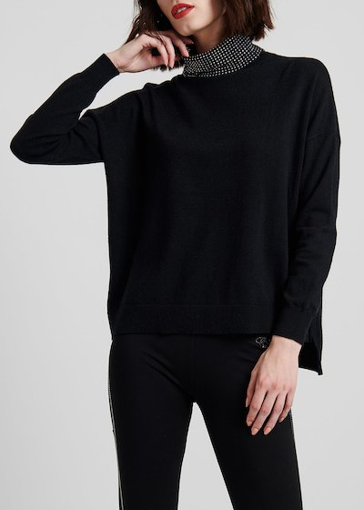 High-neck viscose sweater with rhinestones