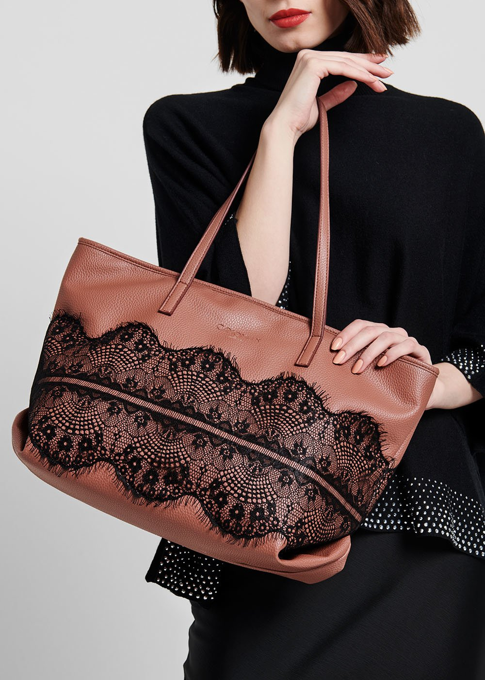 Blow shopping bag with lace - Floreale - Woman