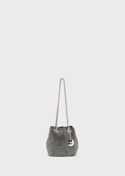 Brake micro rhinestones knit bucket bag