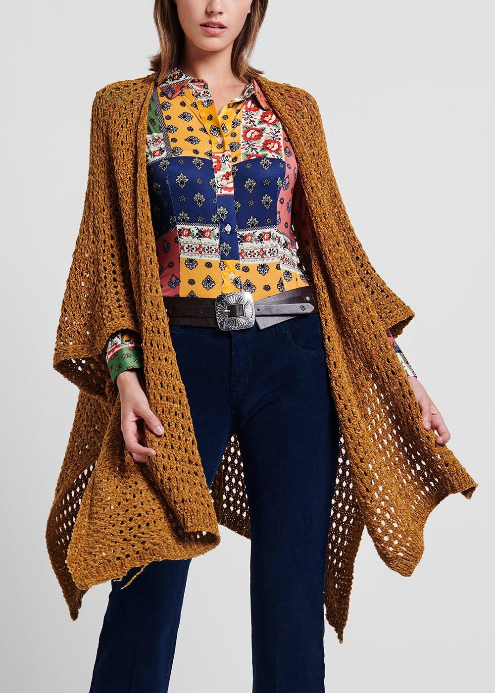 Chenille cape - Mustard - Woman