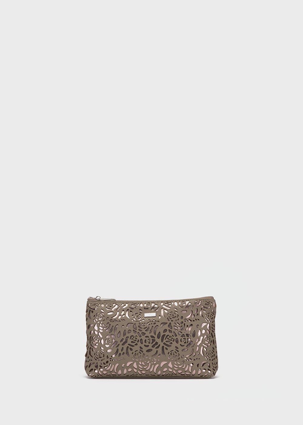Bloser washbag with openwork roses pattern - Mastice / Gun Metal - Woman