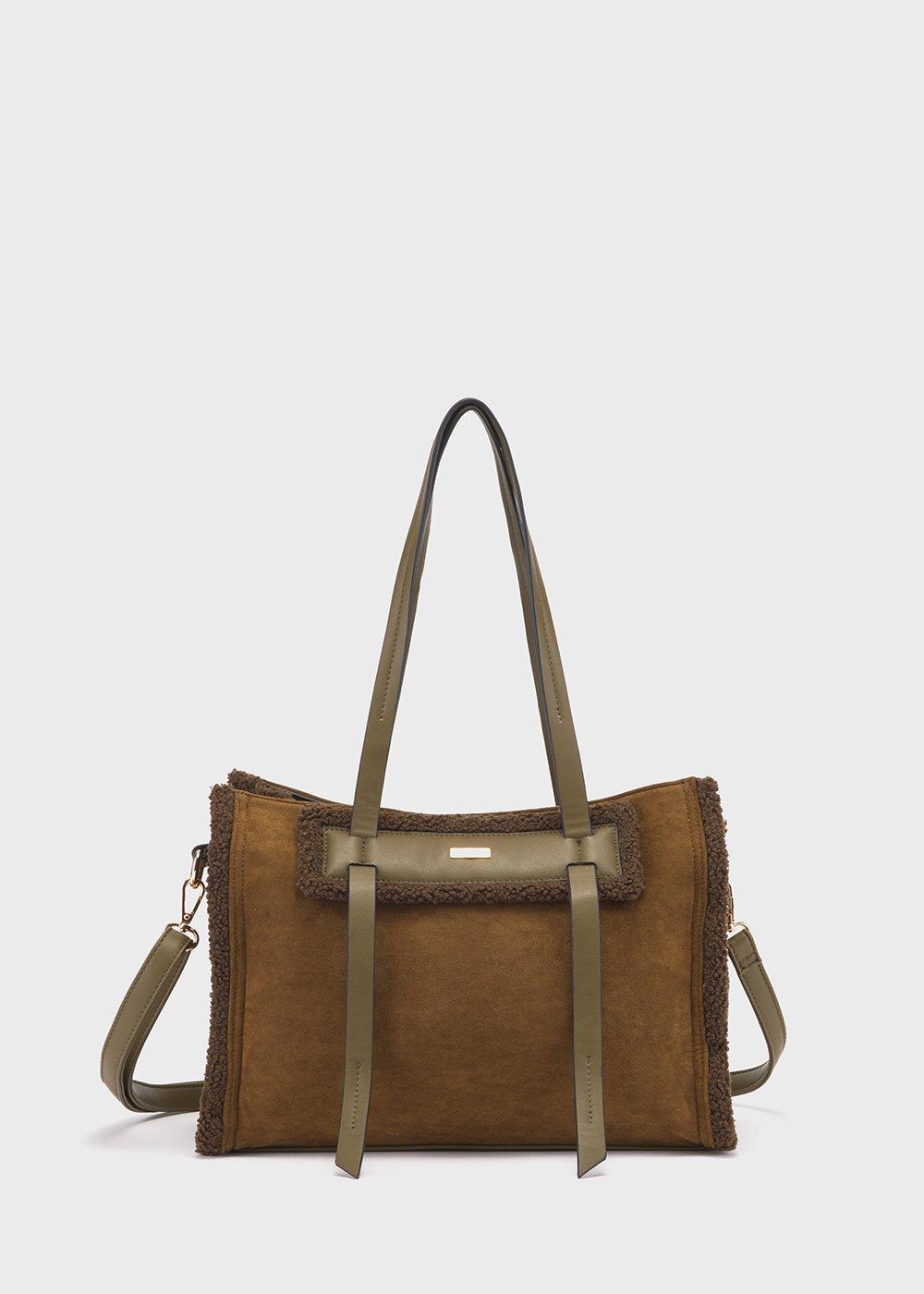 Faux-sheepskin Brady bag - Grape - Woman