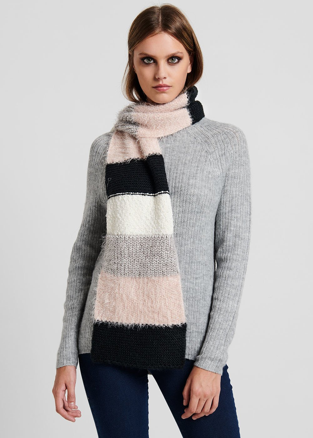 Sofy scarf with coloured stripes - Black / Sepia Stripes - Woman