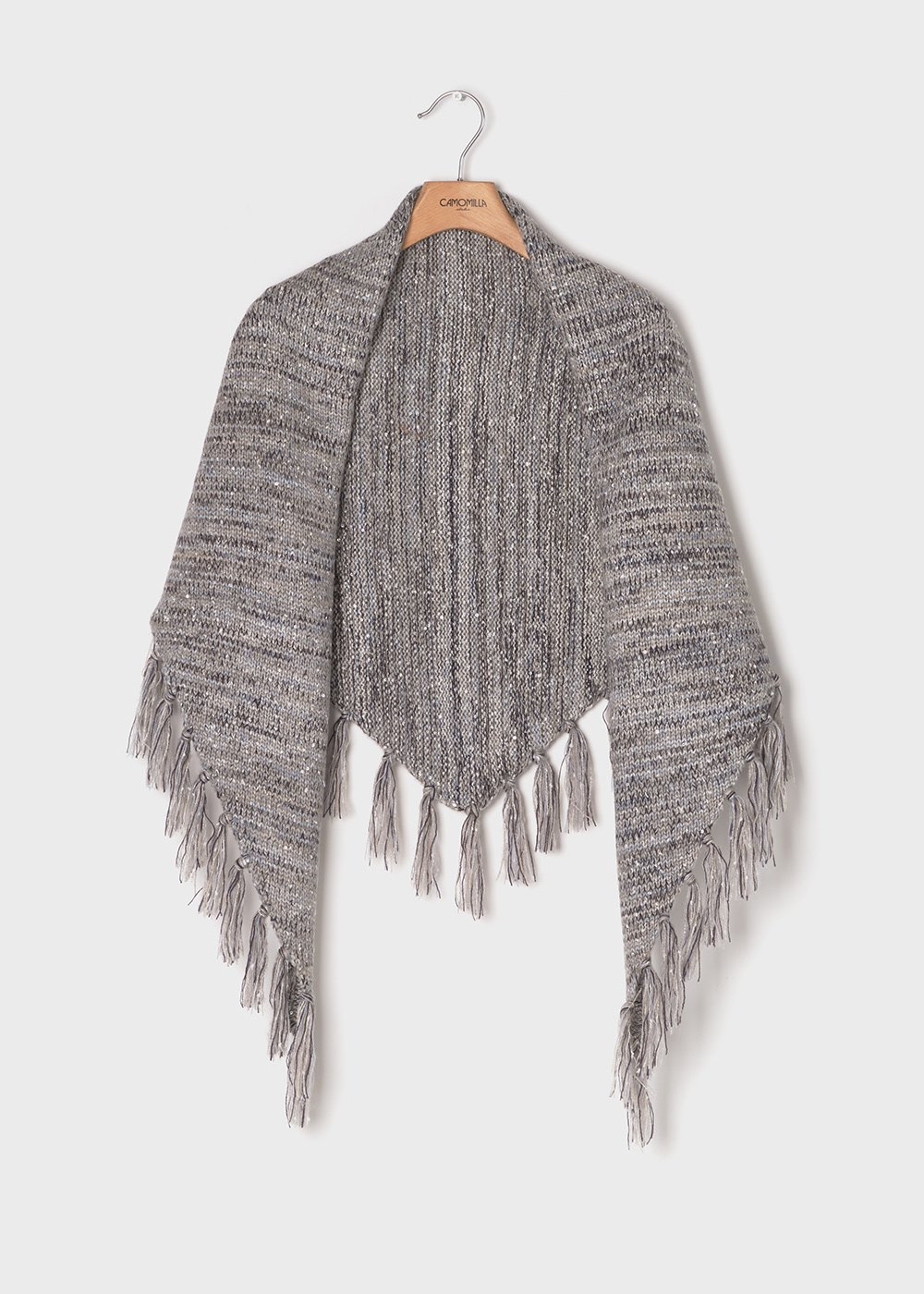 Sayd keffiyeh model scarf with micro-sequins - Grey Melange - Woman