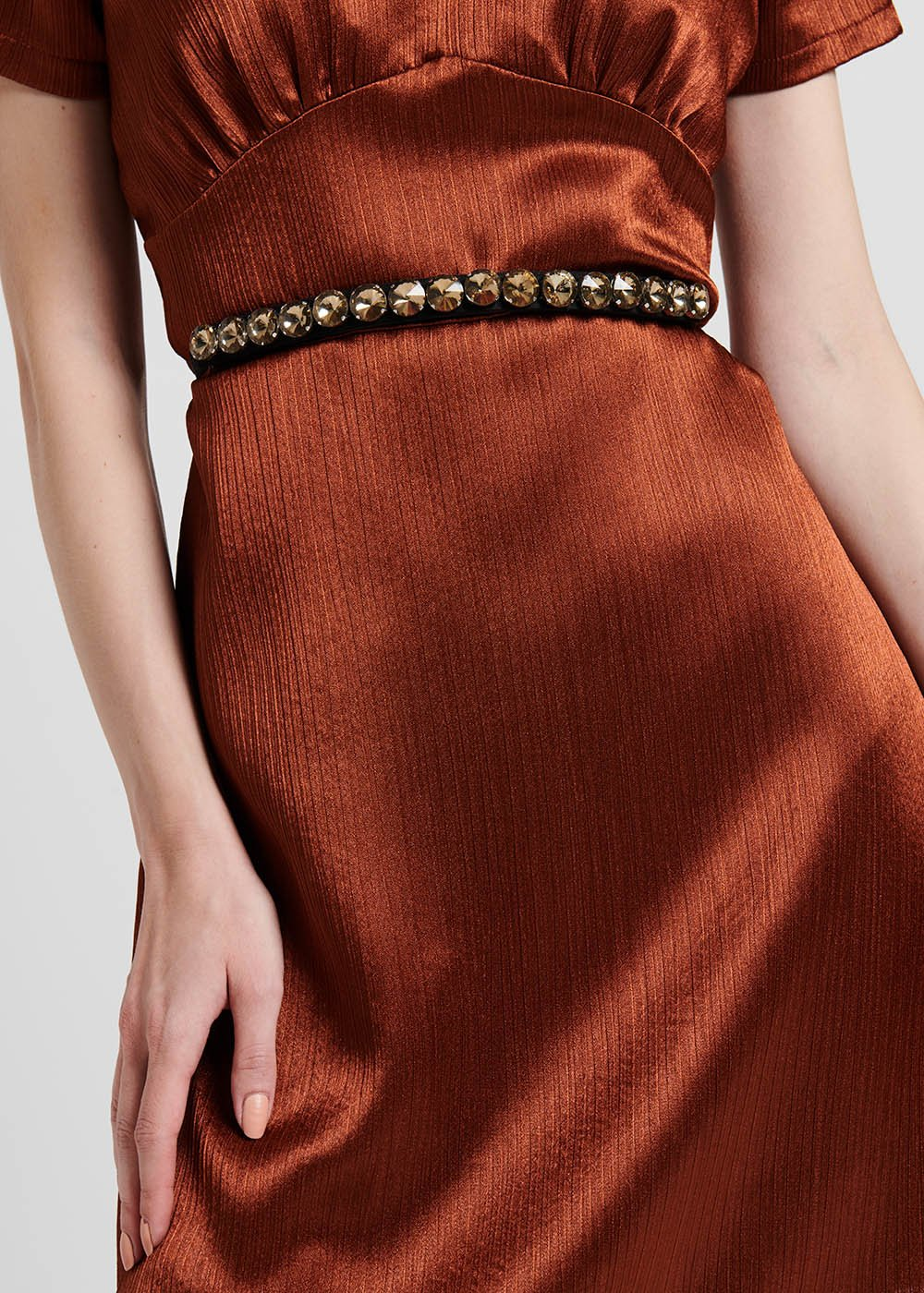 Cocos elastic belt with rose-cut crystals detail