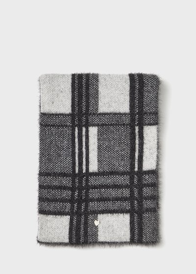 fur - effect Sadry scarf with check print