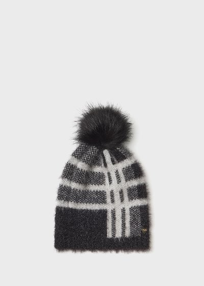 fur - effect Cadry hat with check print