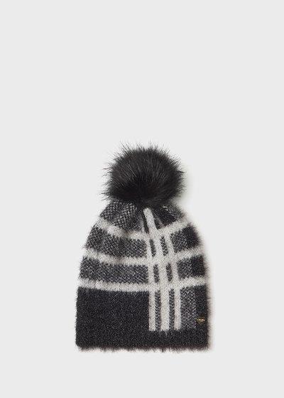 Cappello Cadry effetto pelo stampa check