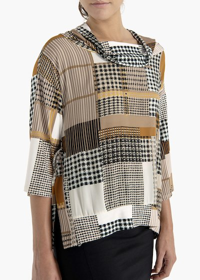 T-shirt Sveva square-coloured pattern in fluid fabric