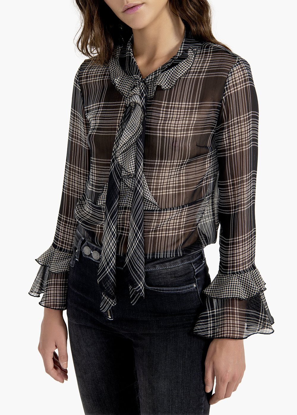 Shirt Samantha in check pattern georgette - Black / Grezzo Fantasia - Woman