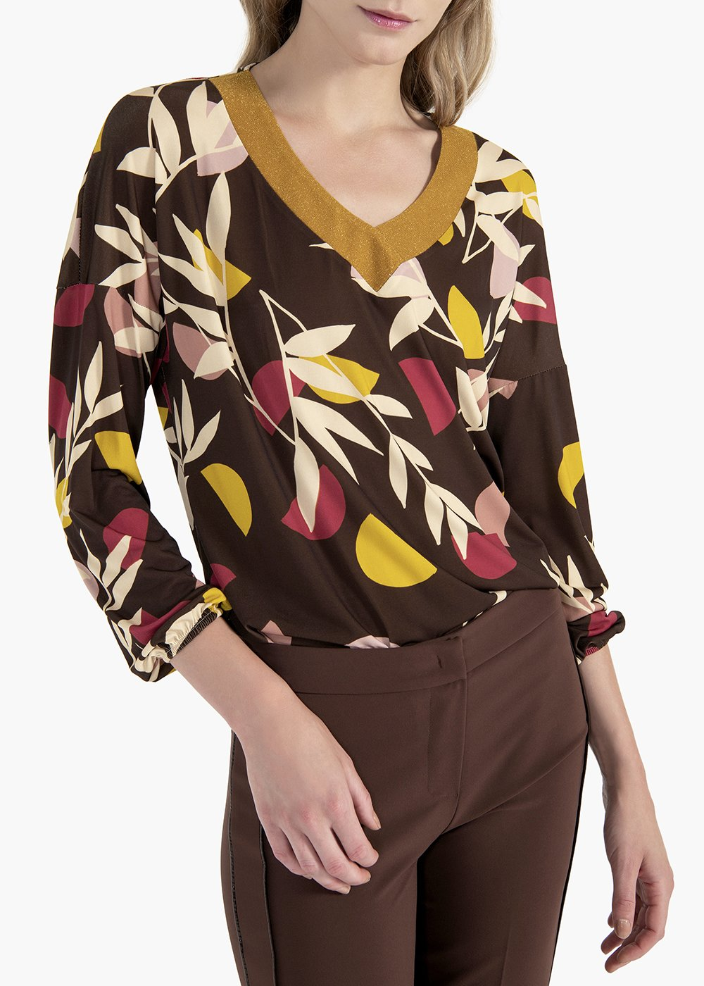 T-shirt Daniela in jersey with leaf print - Marrone / Floreale - Woman