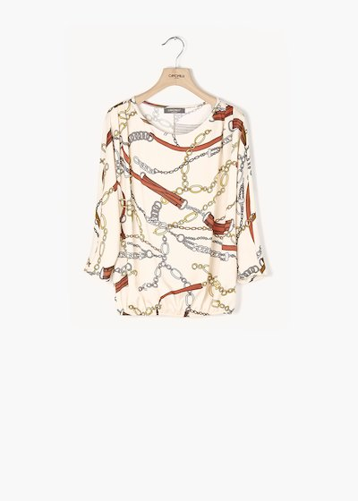 Chiara shirt with printed chains and buckles