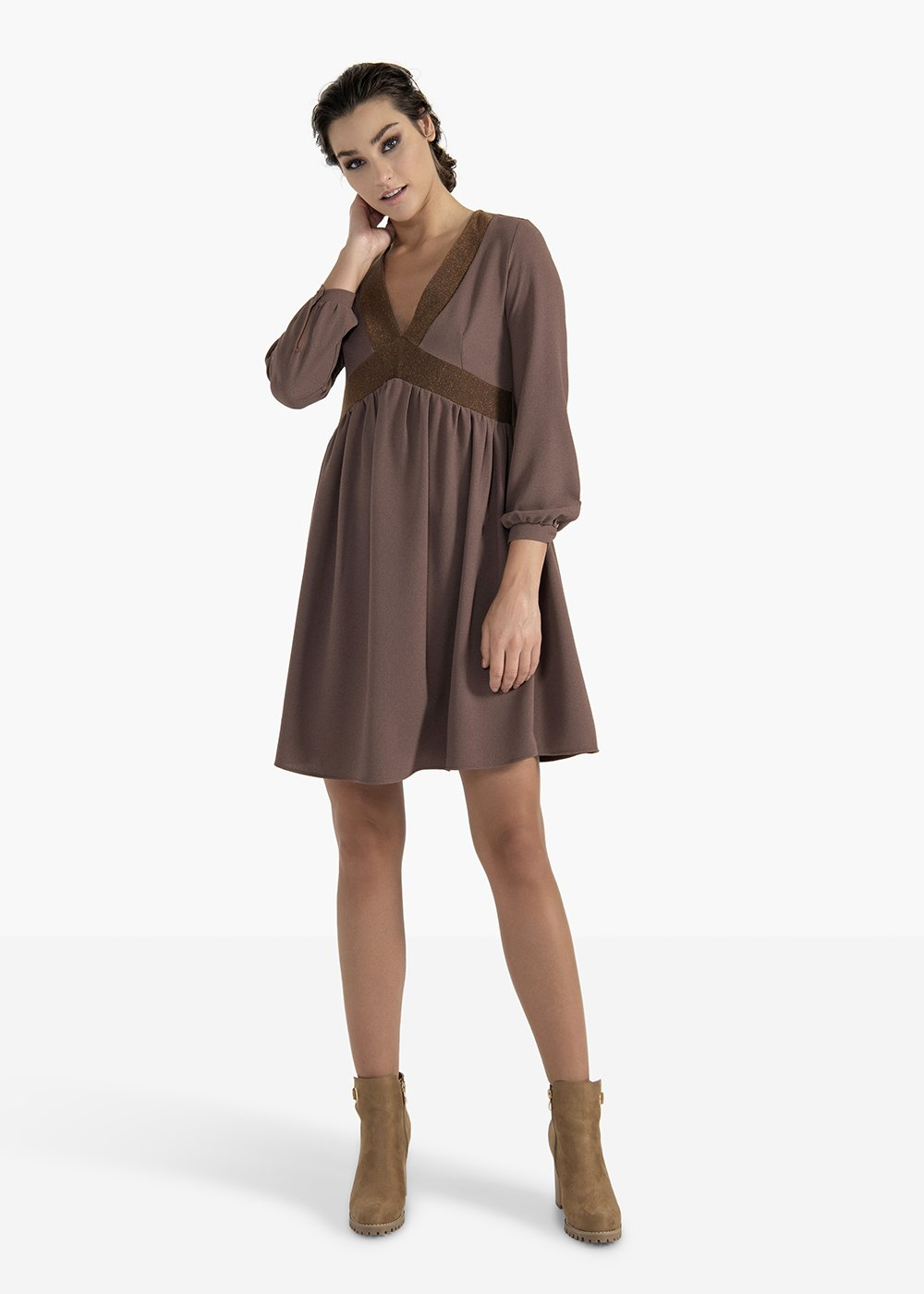 Andrea dress in crêpe fabric with cut under the breast - Brown - Woman