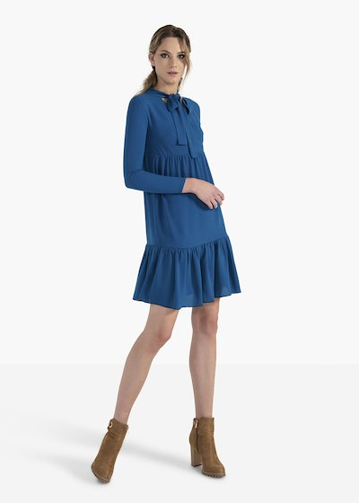 Dress Astrid in crepe jersey with flounces on the bottom
