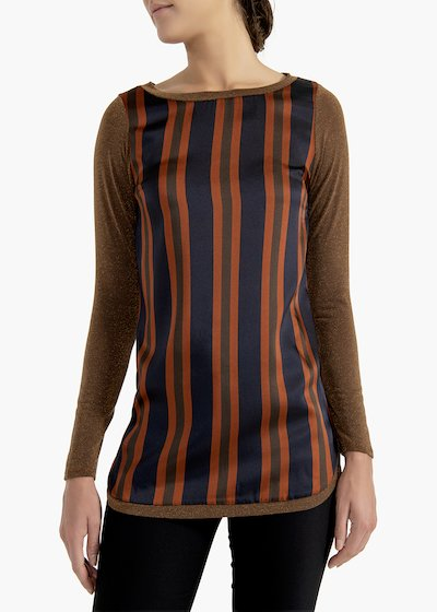 Sweater Madame with striped silk panel