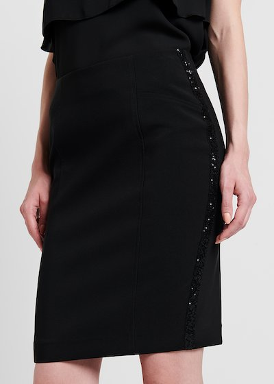 Pencil skirt with side sequined bands