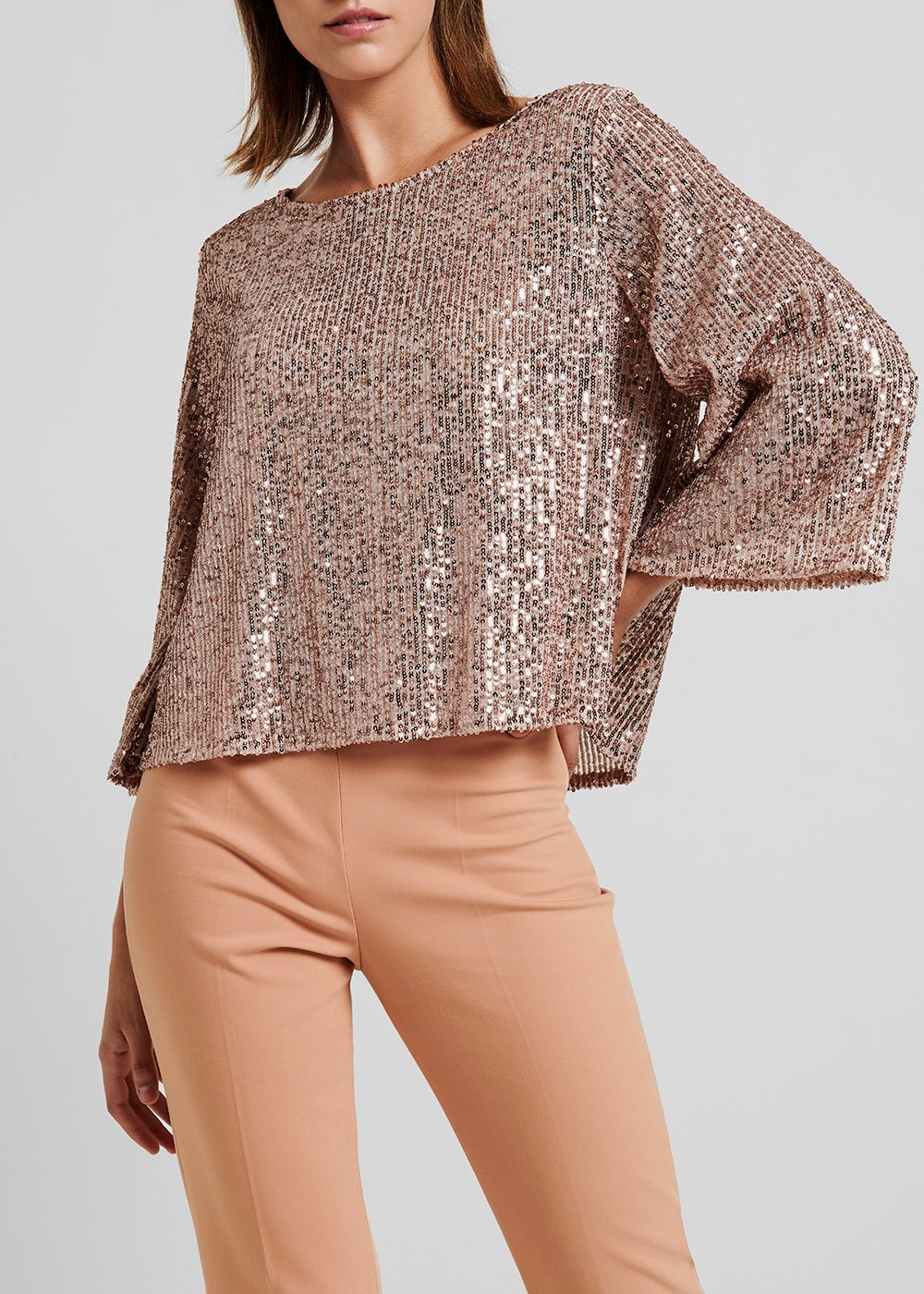 Light gold rose blouse with sequins - Rosette - Woman