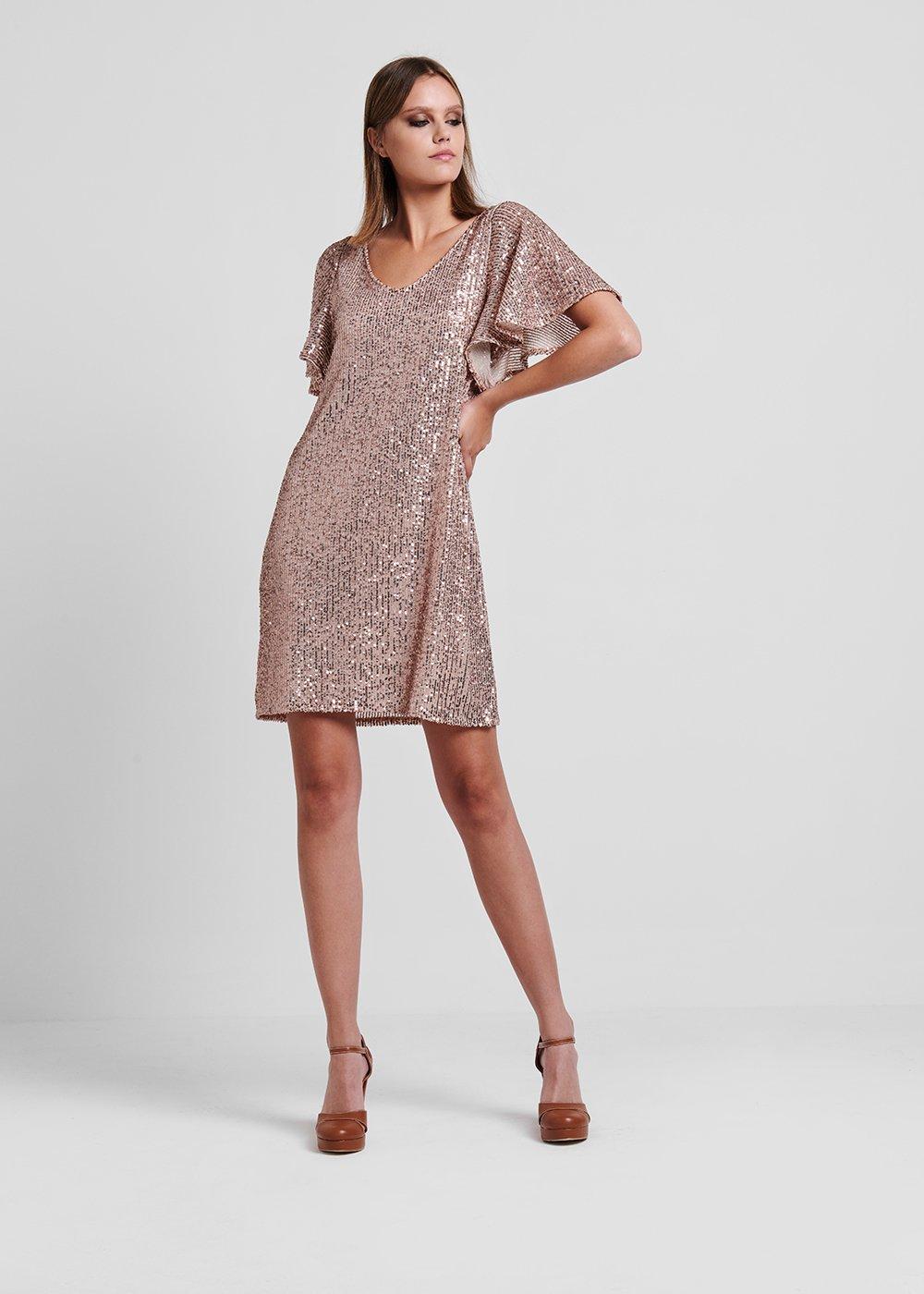 Light gold rose Adriano dress - Rosette - Woman