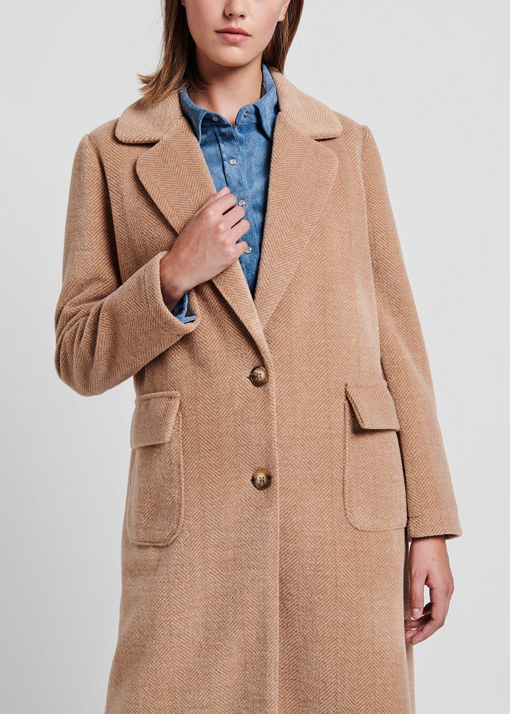 Doeskin-coloured coat in knit fabric - Doeskin - Woman