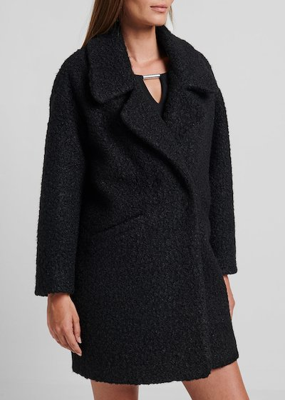 Double-breasted coat in faux - fur fabric