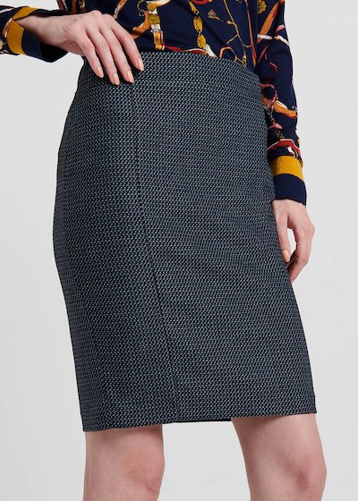 Pencil skirt in jacquard fabric with blue micro pattern