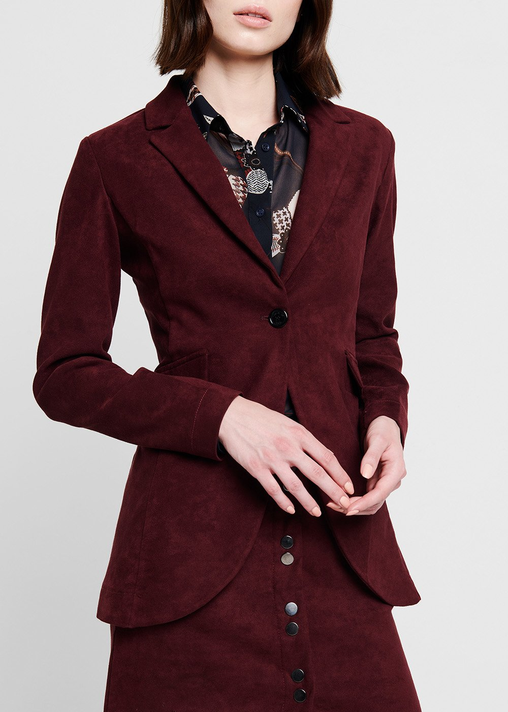 Burgundy faux-suede jacket - Burgundy - Woman