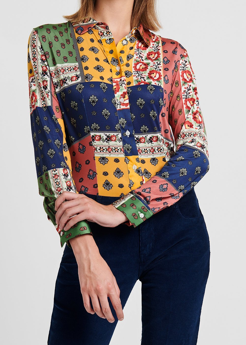 Alessia shirt with patchwork pattern - Avion / Rosette Fantasia - Woman