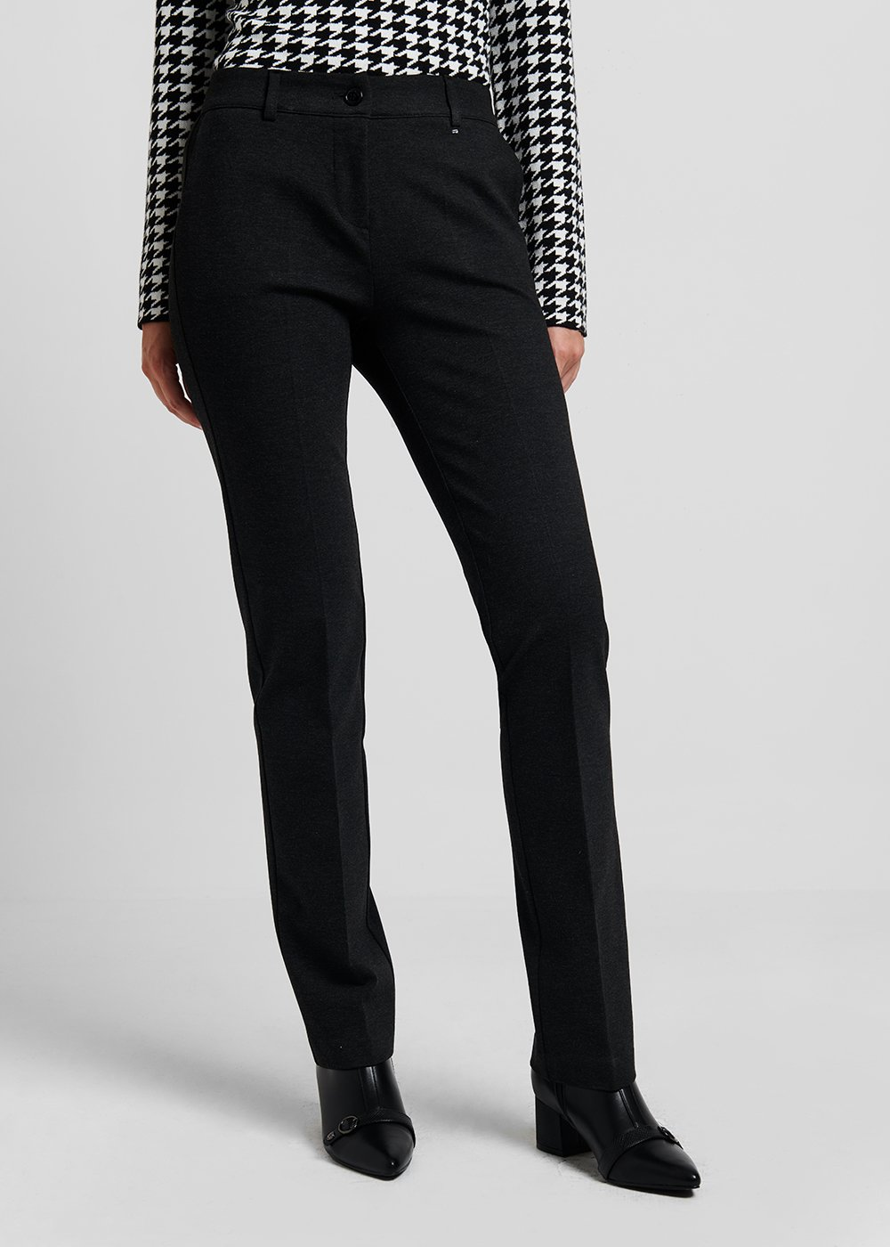 Clair trousers in milano stitch - Grey Melange - Woman