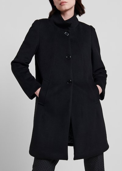 High-neck coat with quilted lining