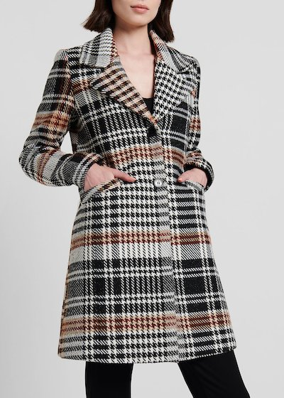Check print coat with double button