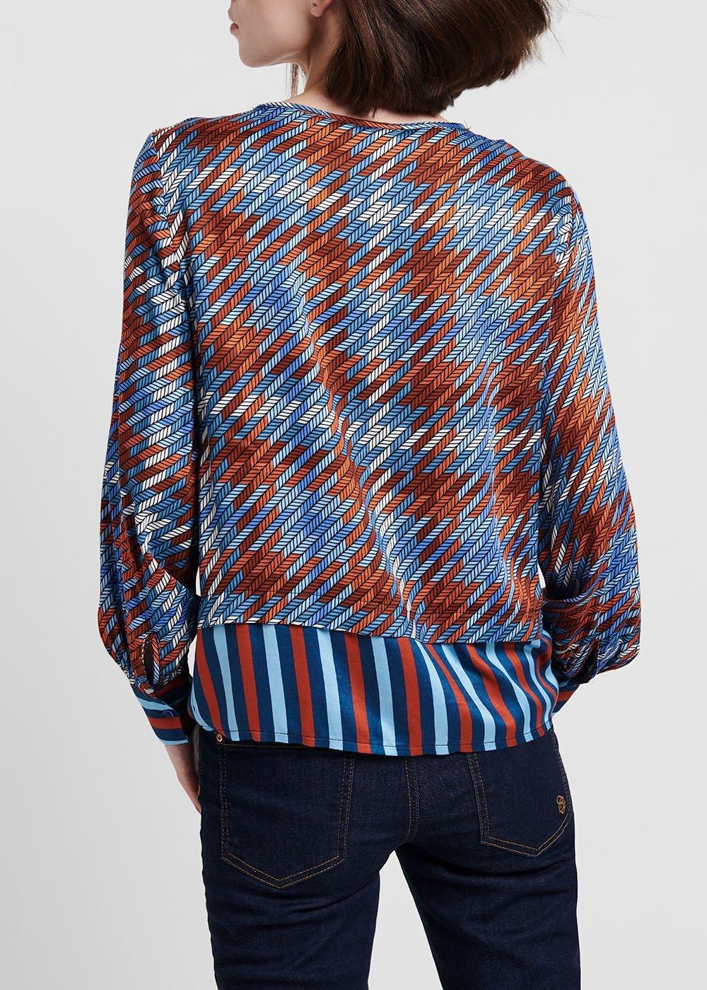 Double patterned faux - satin blouse - Avion / Ruggine Fantasia - Woman