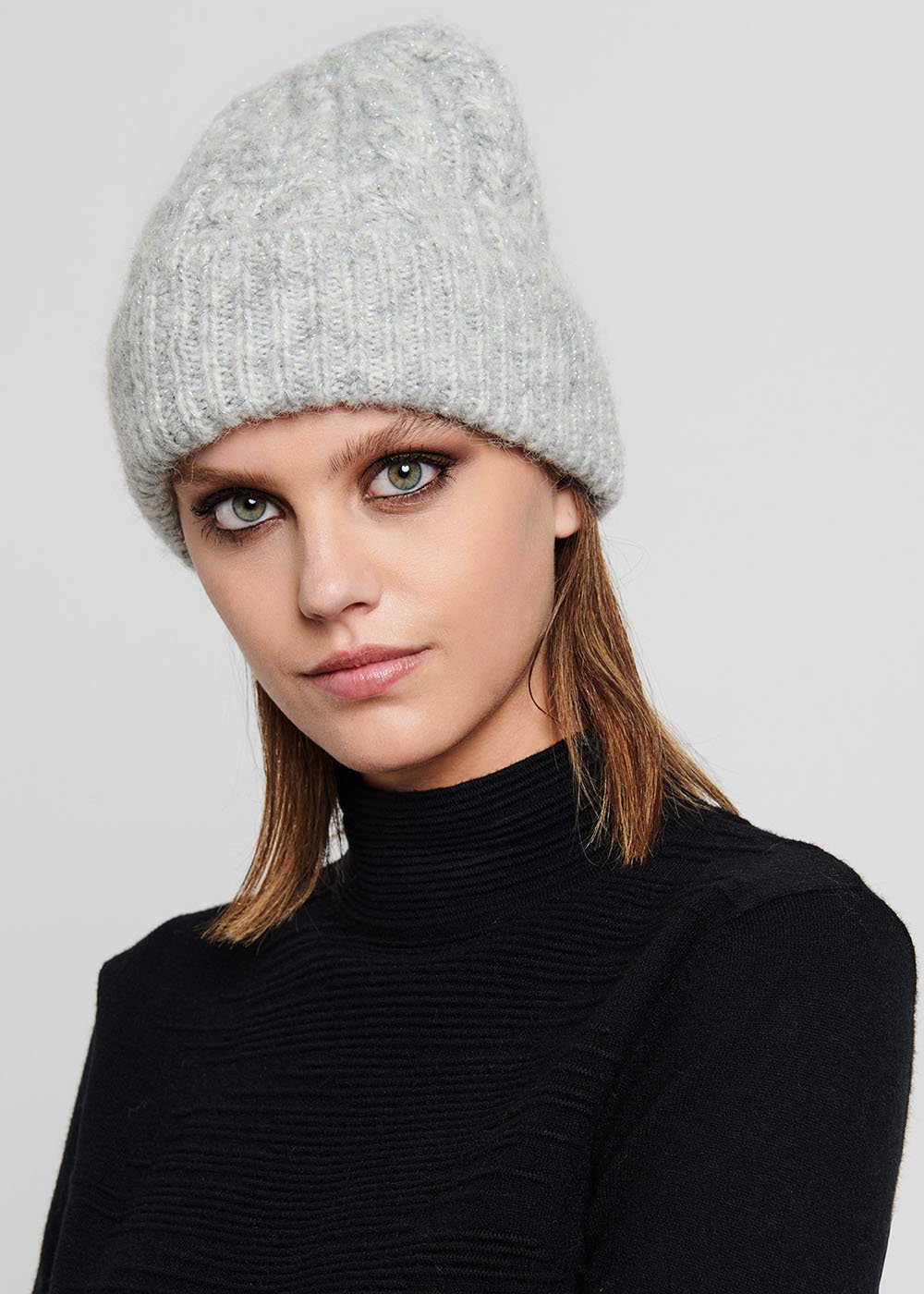 Solly hat with lurex detail - Light Grey - Woman