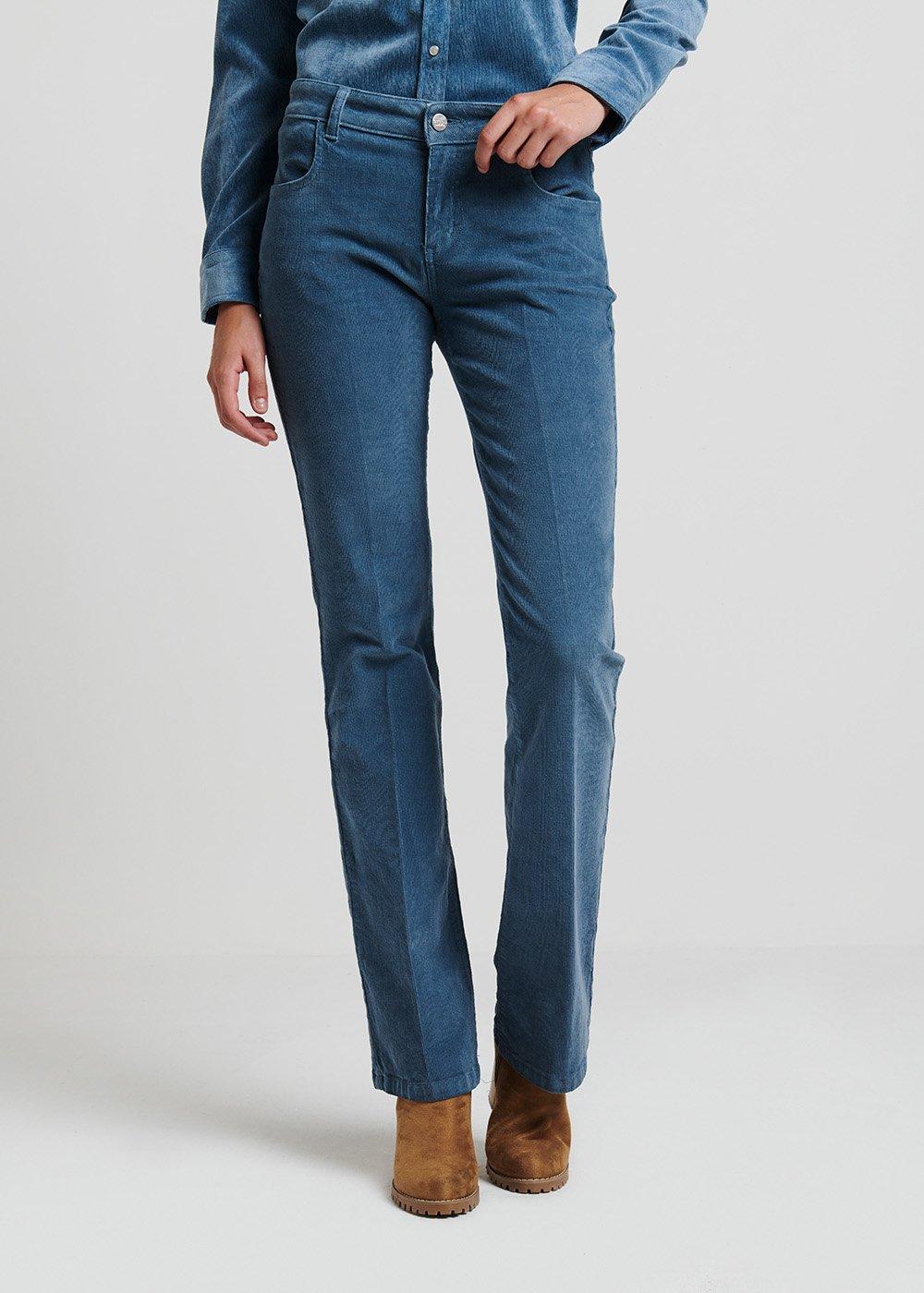 5-pocket flared velvet trousers - Blue - Woman