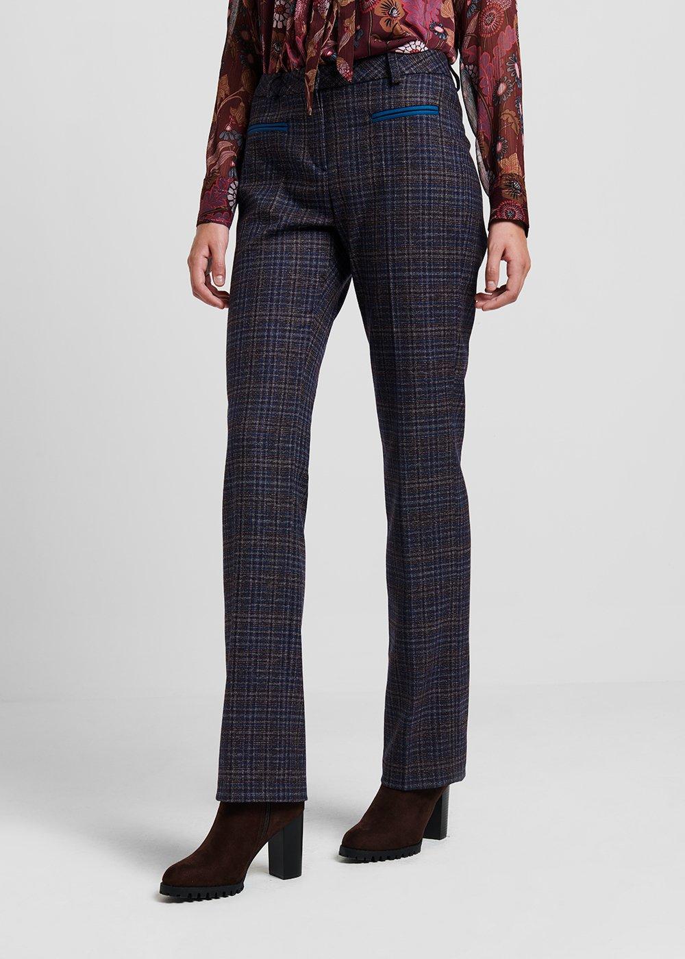 Miranda C trousers in check fabric - Marrone / Pavone Fantasia - Woman