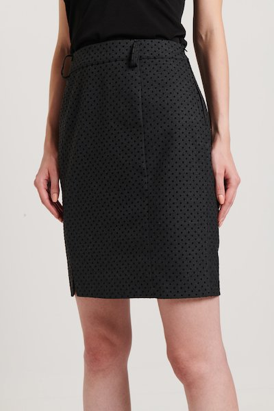 Pencil skirt with polka dot flocked print
