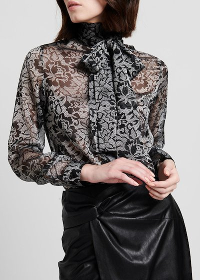 Organza shirt with bow on the neckline
