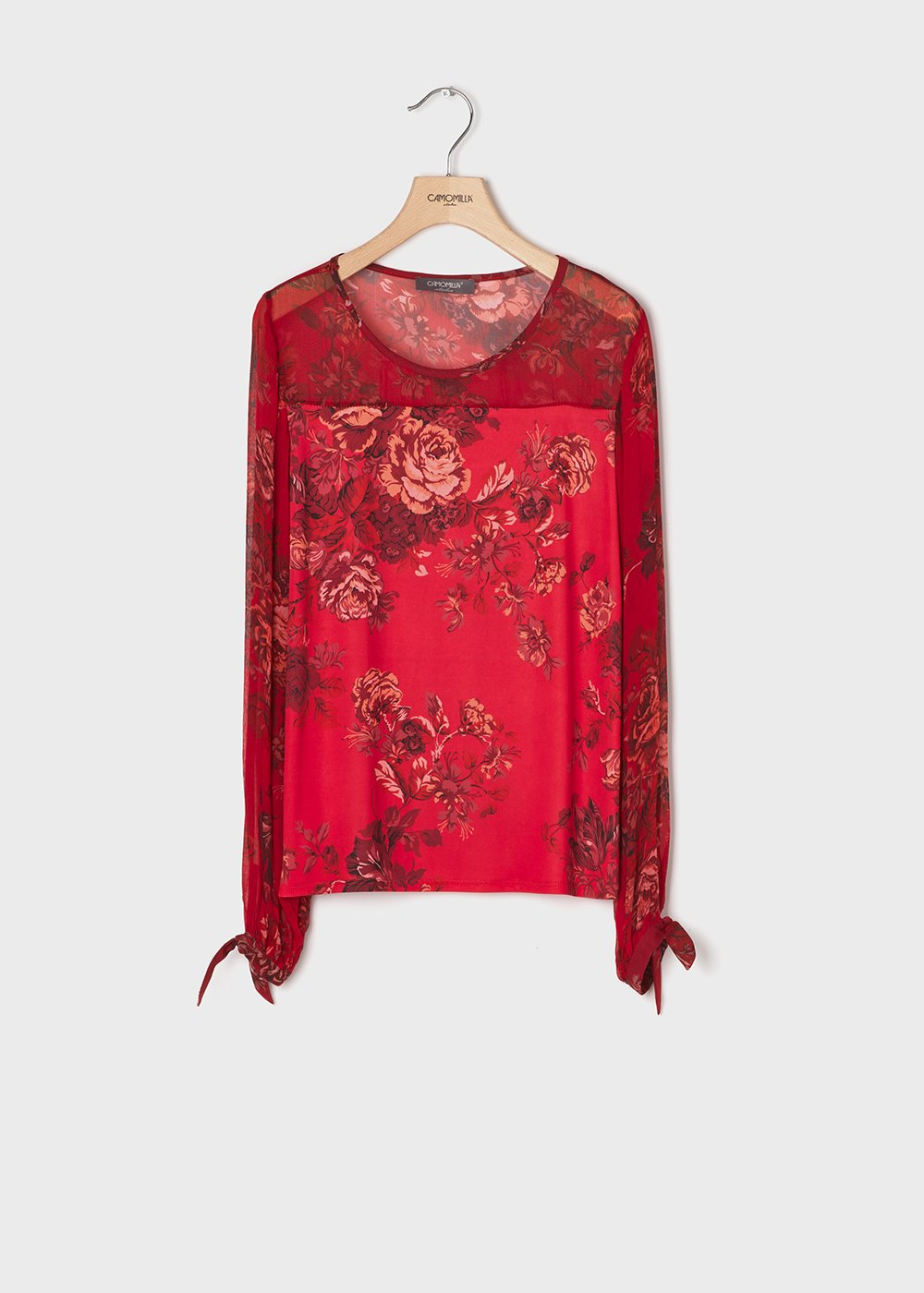 T-shirt with rose print in passion red colour - Passione / Sepia Fantasia - Woman
