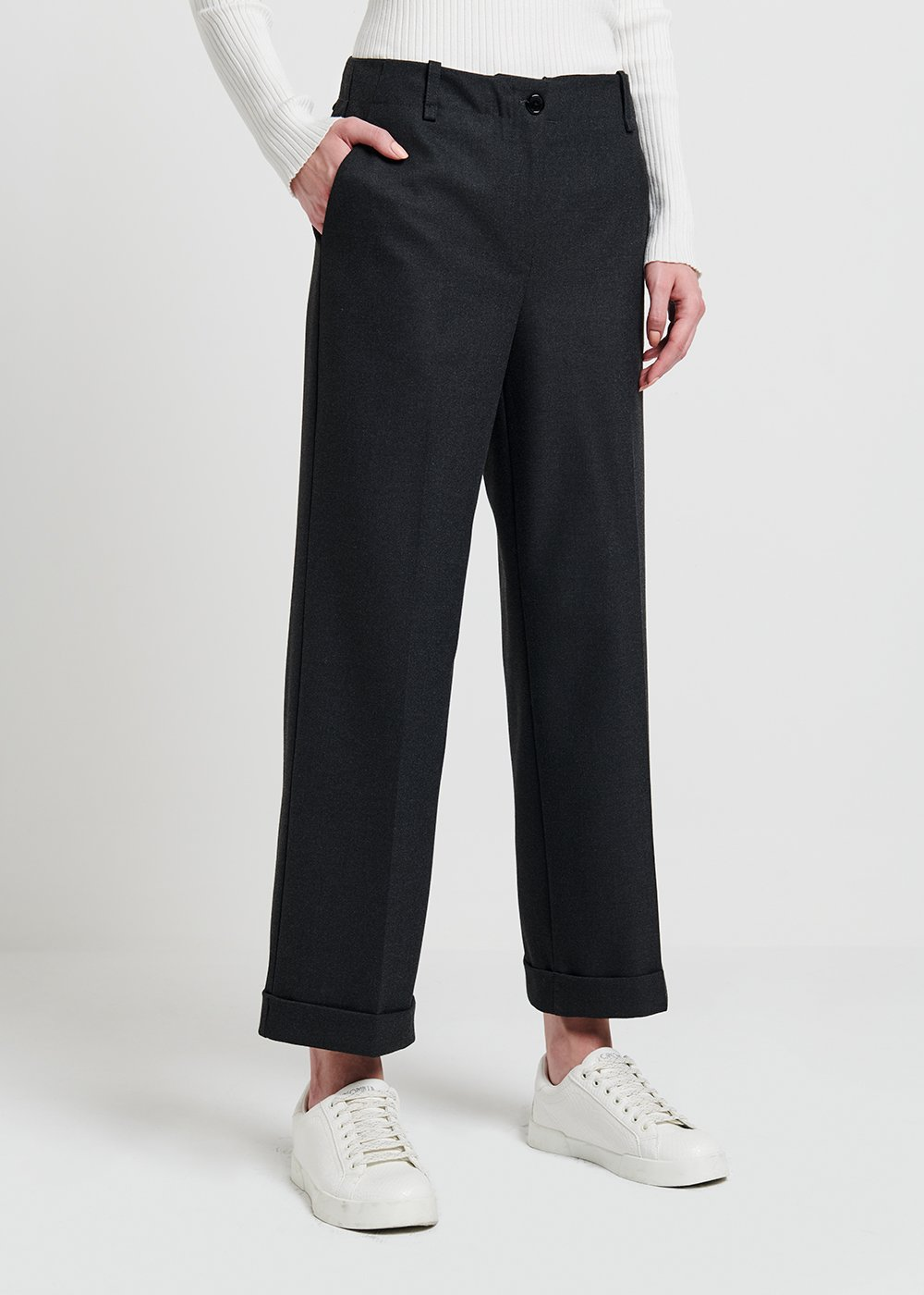 Straight flannel trousers - Dark Grey Melange - Woman