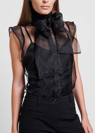Organza top with bow on the neckline