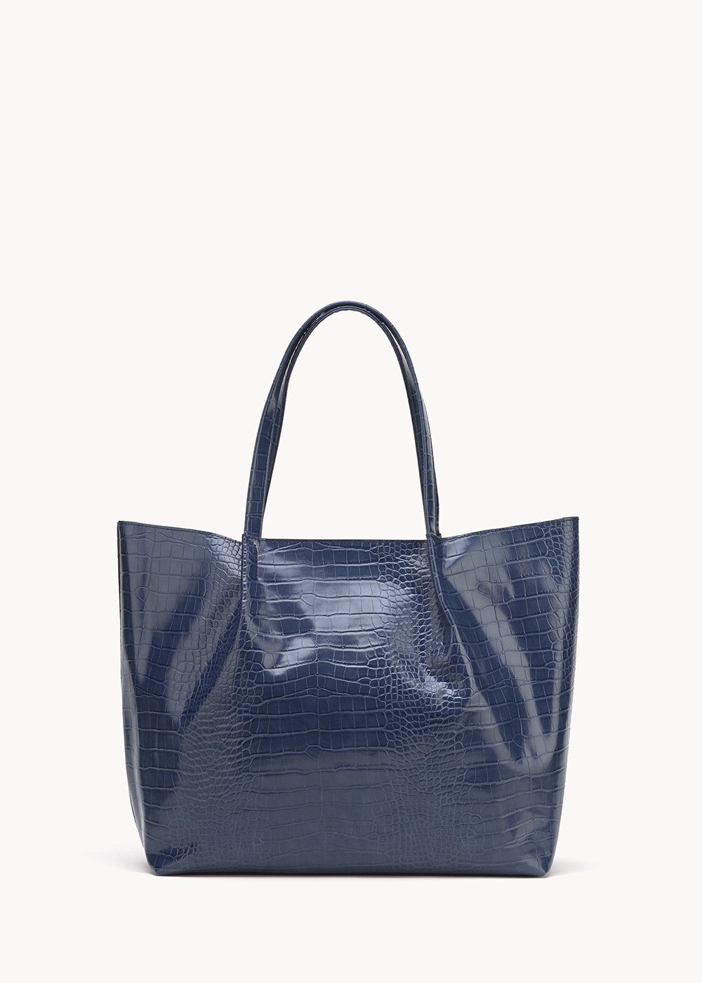 Blanch shopping bag with crocodile print - Marina - Woman