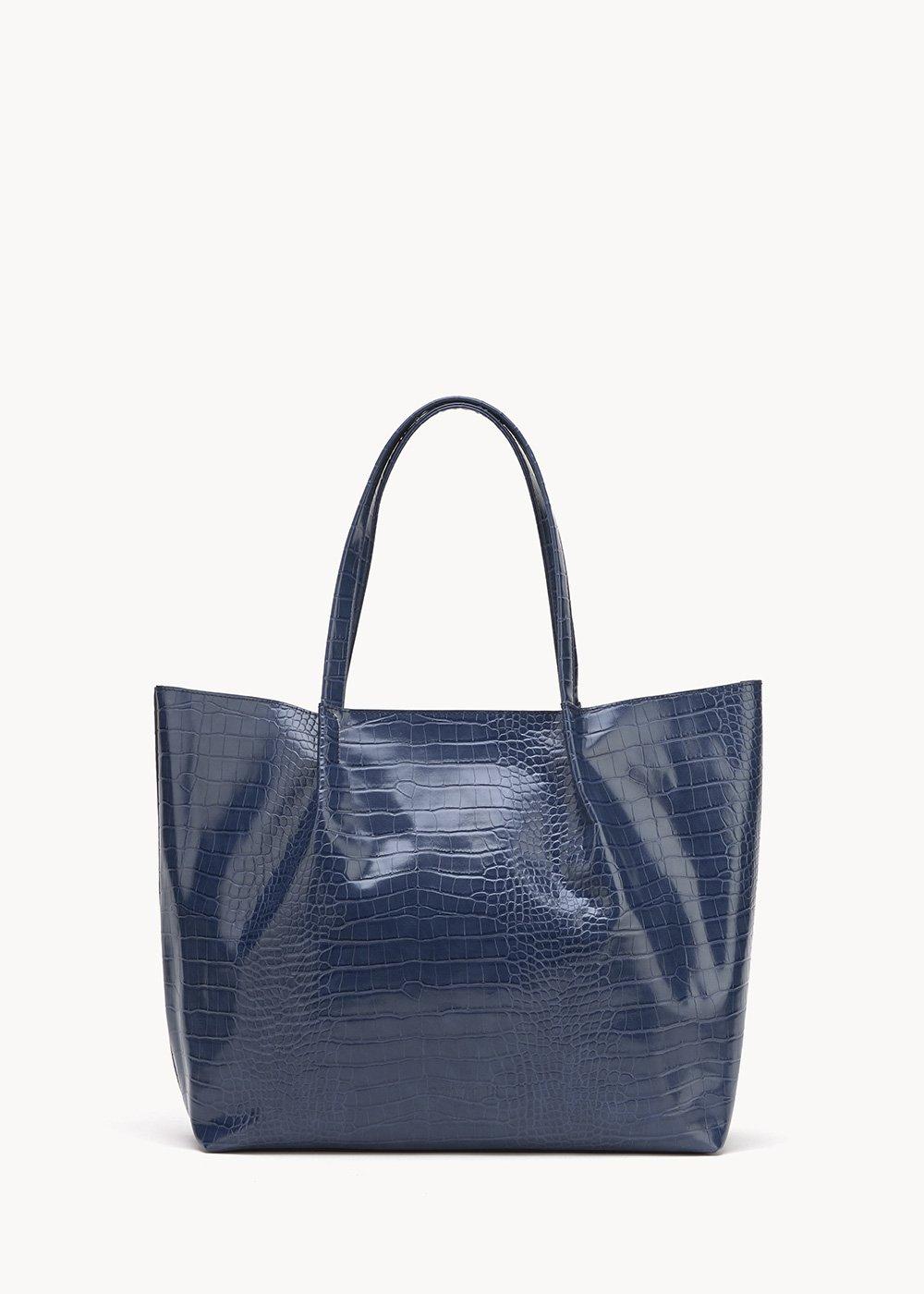 Blanch shopping bag with crocodile print - Marina - Woman