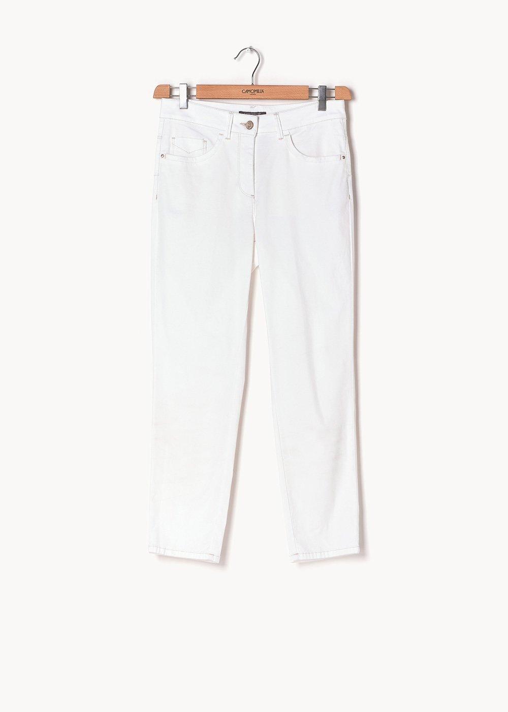 Pantalone Priamo in tessuto nido d'ape in cotone - White - Donna