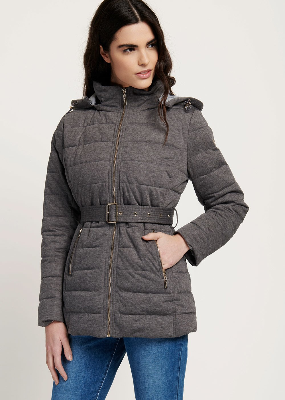 Parker jersey down jacket with melange effect - Medium Grey - Woman