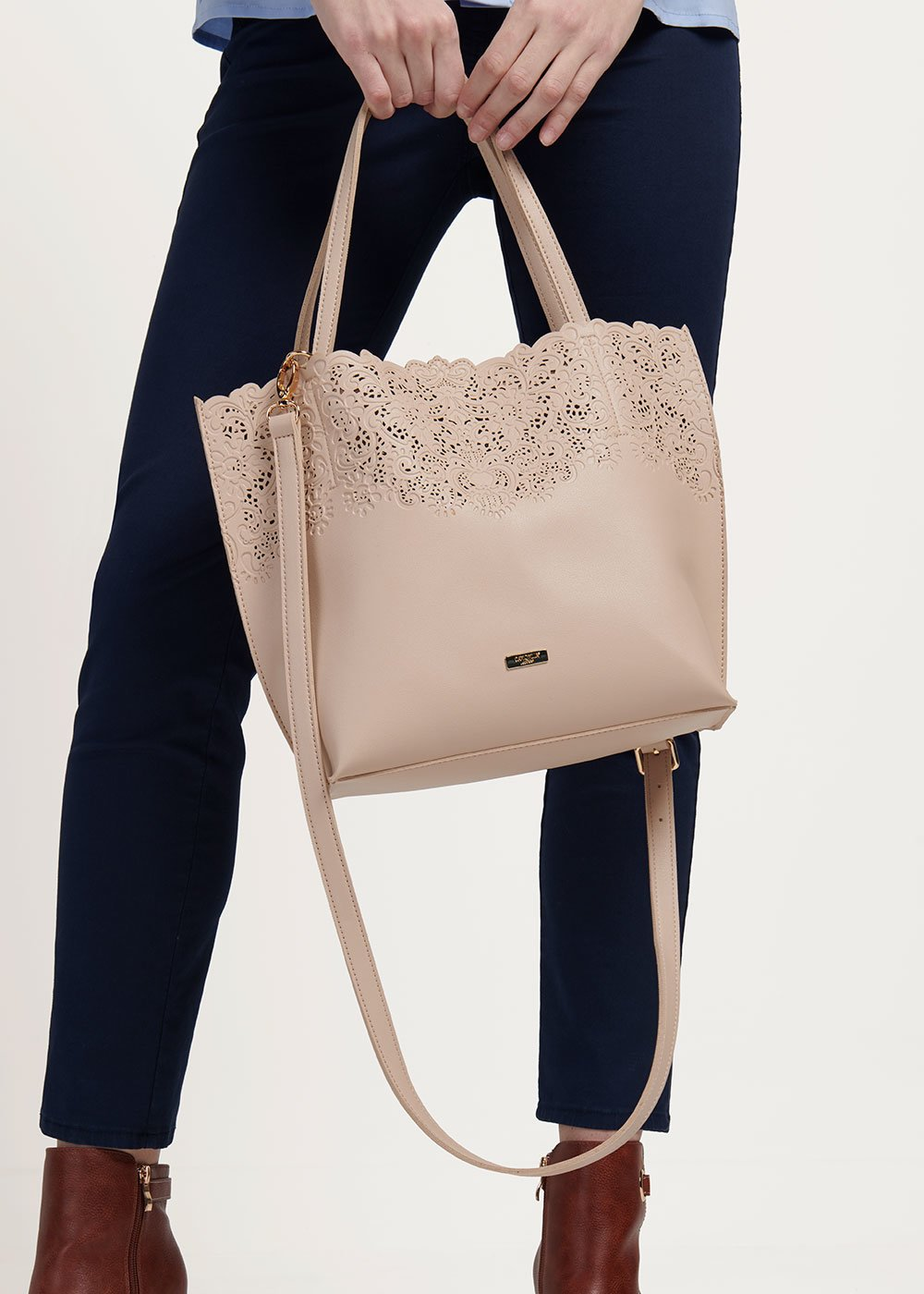 Bailey shopping bag with openwork - Pink - Woman
