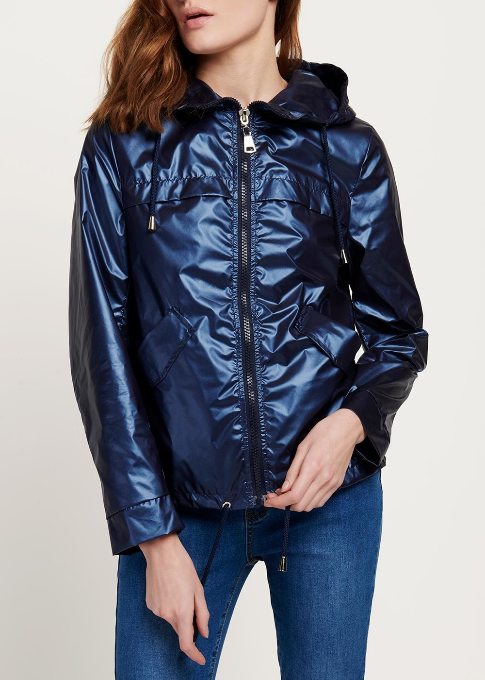 Geordie jacket in metal fabric with hood - Marina - Woman