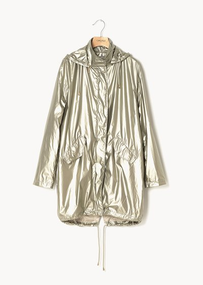 Georgie long jacket in metal fabric