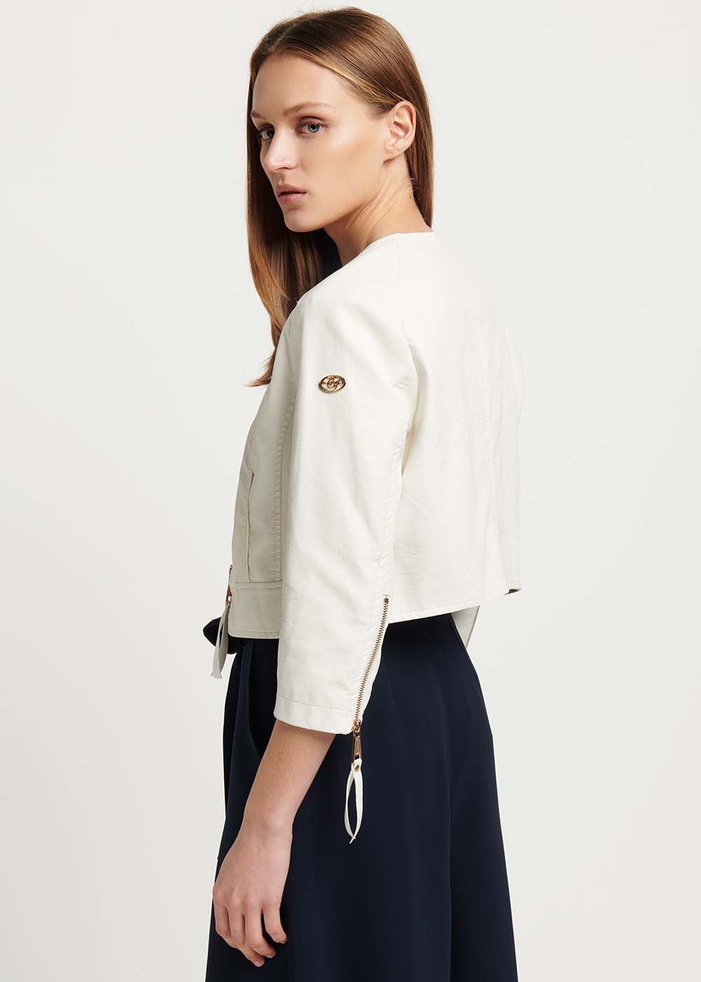 Cyril faux-leather jacket with zip puller - Gauze White - Woman